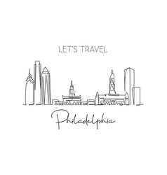single continuous line drawing philadelphia vector image