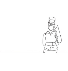 Single one line drawing female welder with call vector