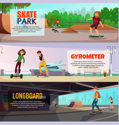 skateboarding horizontal banners vector image