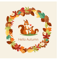 squirrels surrounded with autumn leaves branches vector image
