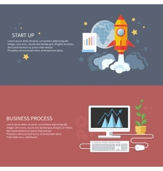 Start up rocket and business process vector image