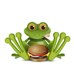 stock frog with cheeseburger vector image