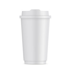 Tall paper coffee cup with lid isolated vector