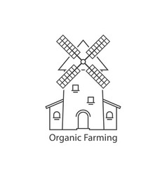 thin line organic farming logo with windmill vector image