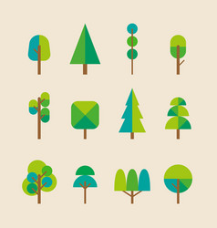 trees collection in flat style vector image