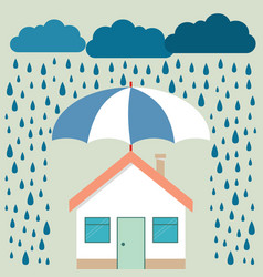 Umbrella under rain protecting house insurance vector