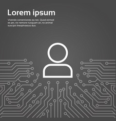 user icon member over computer chip moterboard vector image