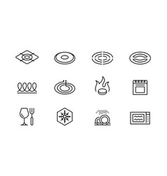 Utensil properties and destination icon set vector