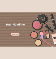 various beauty products isolated on kraft paper vector image