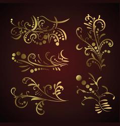 victorian set golden ornate page decor elements vector image