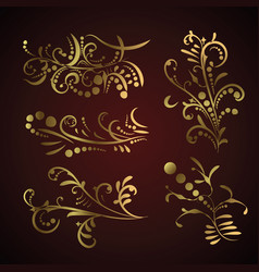 victorian set of golden ornate page decor elements vector image