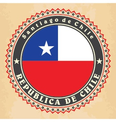 Vintage label cards of Chile flag vector image