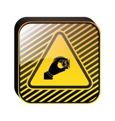 Warning sign insert coin icon vector