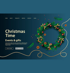 web page design template for christmas holiday vector image
