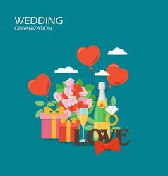 wedding organization flat style design vector image