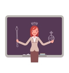 Woman against the blackboard with drawn queen vector image