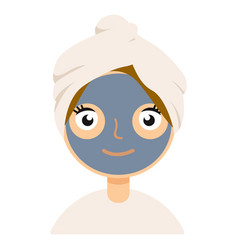 woman with facial mask on white background vector image