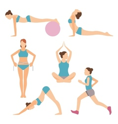 icons of people exercising at the gym and fitness vector image vector image