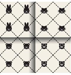 minimal animal seamless patterns vector image