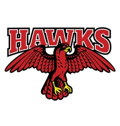 red hawk mascot vector image vector image