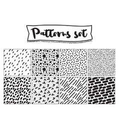 Set of hand drawn backgrounds Black and white vector image