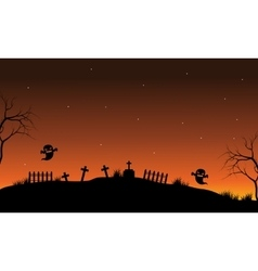 Silhouette of ghost in tomb vector image vector image
