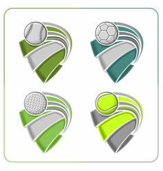 sports balls ribbons vector image vector image