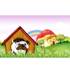 A bulldog in the doghouse near the giant mushrooms vector image vector image