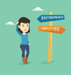 confused woman choosing career pathway vector image