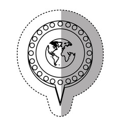 monochrome sticker with world map and circular vector image vector image
