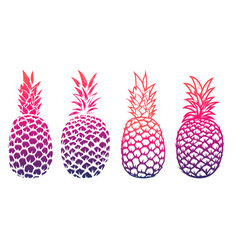set of pineapple isolated on white background vector image vector image