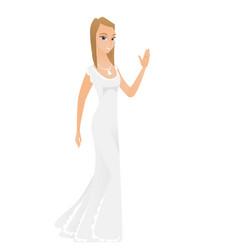 Young caucasian bride waving her hand vector