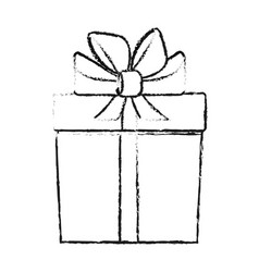 blurred silhouette cartoon giftbox with wrapping vector image vector image