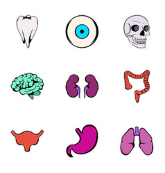 body parts icons set cartoon style vector image