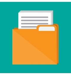 Documents folder with paper sheets vector