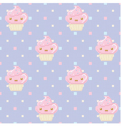 knitted seamless pattern with cupcakes on purple vector image vector image