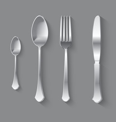 Silver Fork Spoon and Knife Top View vector image vector image