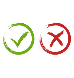 tick and cross signs green and red checkmark vector image vector image