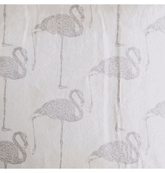 Vintage of a flamingo pattern on the old wri vector