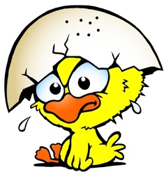 Hand-drawn of an cute unhappy baby chicken vector image vector image