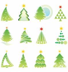set of Christmas firs vector image