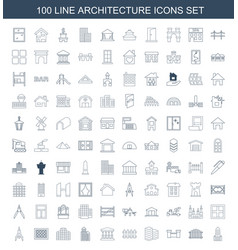 100 architecture icons vector image