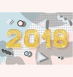 2018 happy new year memphis style vector