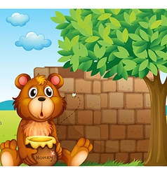 A bear with honey near a pile of bricks vector