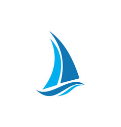 abstract sailboat waves logo icon vector image