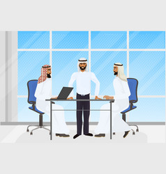 arab business people brainstorming meeting in vector image