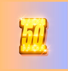 award number 50 banner gold object vector image
