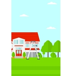 Background of house with step ladder vector