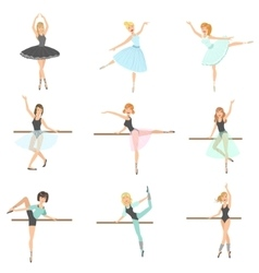 Ballerinas Training In Dance Class Set vector