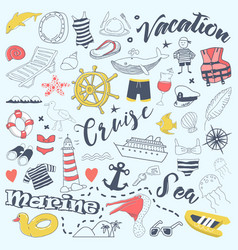 Beach vacation freehand doodles with cruise vector